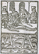 A dissection in progress. From 'Le livre de la propriete des choses' (On the Properites of Things) written by the English Franciscan monk Bartholomew Glanville called Bartolomaeus Anglicus  c1230-1240 and translated by Jean Corbechon in 1372. Woodcut from