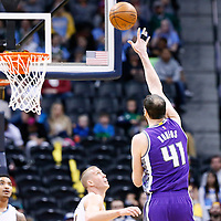06 March 2017: Sacramento Kings center Kosta Koufos (41) goes for the baby hook during the Denver Nuggets 108-96 victory over the Sacramento Kings, at the Pepsi Center, Denver, Colorado, USA.