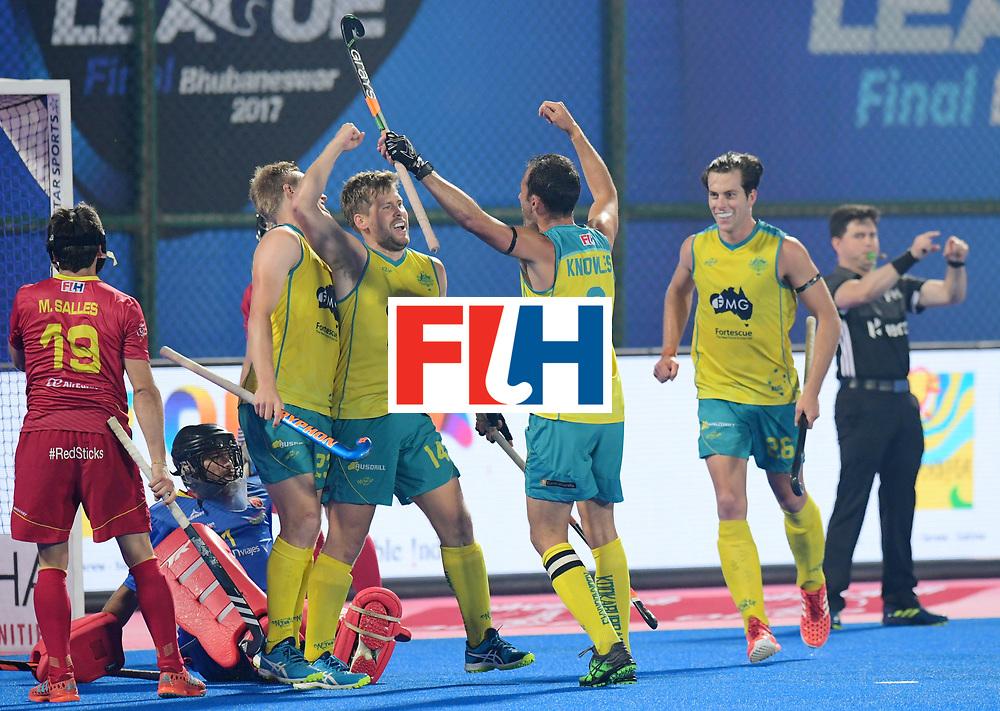 Odisha Men's Hockey World League Final Bhubaneswar 2017<br /> Match id:15<br /> Spain v Australia<br /> Foto: Australia scored goal<br /> Aaron Kleinschmidt (Aus) <br /> COPYRIGHT WORLDSPORTPICS FRANK UIJLENBROEK