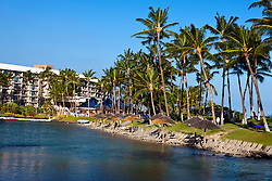 The lagoon at Hilton Waikoloa Village with beach and palm trees, The Big Island, Hawaii, United States of America