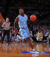 North Carolina guard/forward Marcus Ginyard #1 brings teh abll up the court  against the Ohio State Buckeyes during the 2K Sports Classic at Madison Square Garden. (Mandatory Credit: Delane B. Rouse/Delane Rouse Photography)