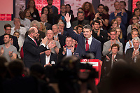 19 MAR 2017, BERLIN/GERMANY:<br /> Martin Schulz (L), SPD, designierter SPD Parteivorsitzender und Spitzenkandidat der Bundestagswahl, und Sigmar Gabriel, SPD, Bundesaussenminister und scheidender SPD Parteivorsitzender, nach Gabriels Abschiedsrede, a.o. Bundesparteitag, Arena Berlin<br /> IMAGE: 20170319-01-012<br /> KEYWORDS: party congress, social democratic party, candidate, Applaus, applause, Jubel, klatschen