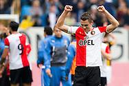 ARNHEM, Vitesse - Feyenoord, voetbal Eredivisie, seizoen 2013-2014, 06-10-2013, Stadion Gelredome, Feyenoord speler Stefan de Vrij (R) is blij na afloop van de wedstrijd.