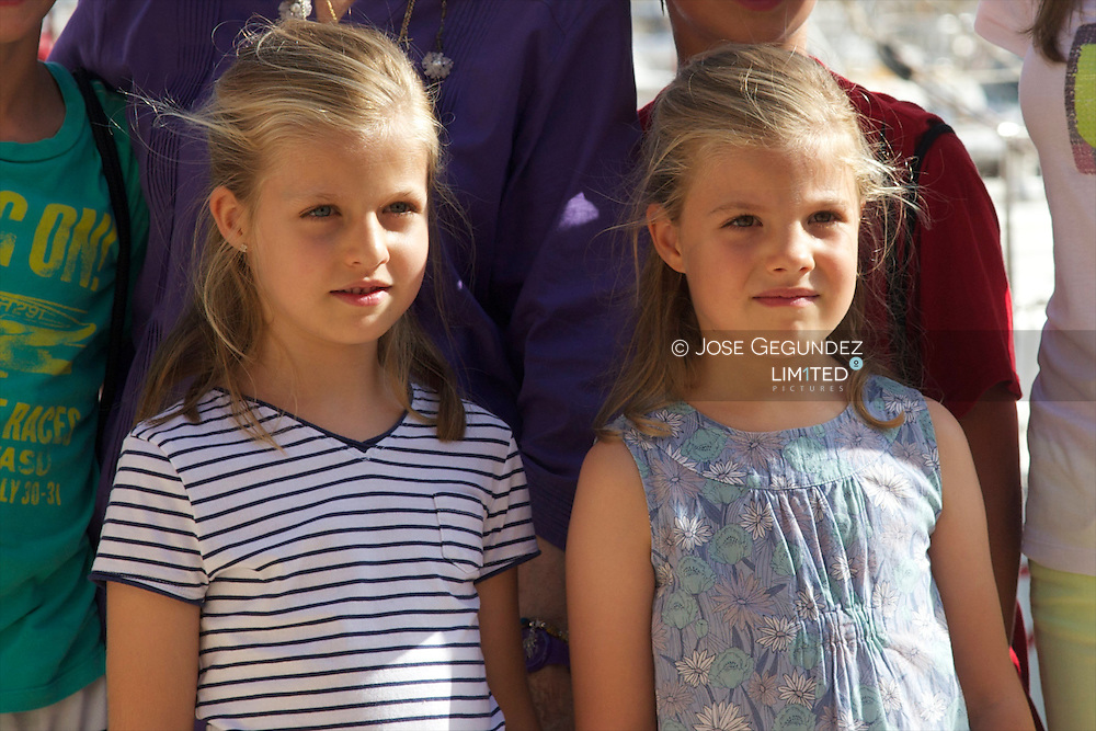 Queen Sofia of Spain, Princess Letizia of Spain, Princess Leonor, Princess Sofia, Princess Elena, Froilan Marichalar, Victoria Federica Marichalar, Juan Valentin Urdangarin, Pablo Nicolas Urdangarin, Miguel Urdangarin and Irene Urdangarin attends the Sailing School Awards Day at Calanova on 2 August, 2013 in Palma de Mallorca