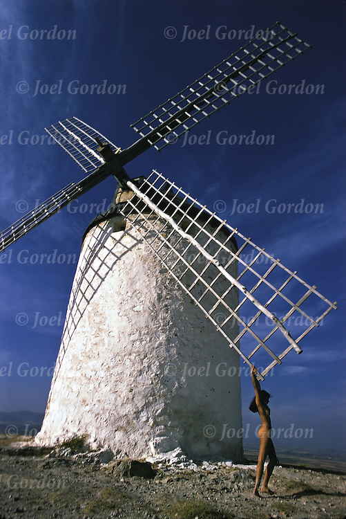 Nude on windmill in Spain