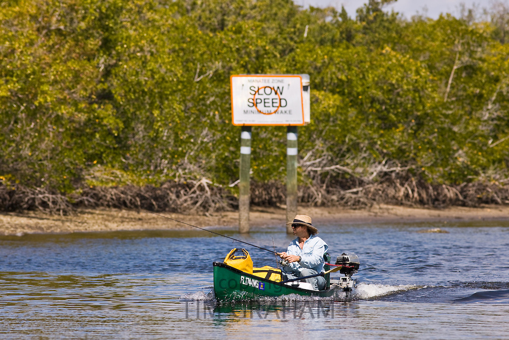 Fisherman with fishing rod in Florida Everglades, United States of America