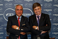 De Vos Ingmar, FEI President, Juan Carlos Capelli, Vice President of the Longines Watch Company<br /> CSIO Barcelona 2017<br /> © Hippo Foto - Dirk Caremans<br /> 30/09/2017