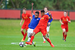 KIRKBY, ENGLAND - Saturday, September 24, 2016: Liverpool's Rhian Brewster in action against Everton's Beni Baningime during the Under-18 FA Premier League match at the Kirkby Academy. (Pic by David Rawcliffe/Propaganda)
