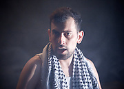 And Here I Am <br /> by Hassan Abdlrazzak <br /> directed by Zoe Lafferty <br /> a new dark political comedy about retaining innocence in Palestine. <br /> at the Arcola Theatre, London, Great Britain <br /> press photocall <br /> 5th July 2017 <br /> <br /> performed by <br /> Ahmed Tobasi <br /> <br /> <br /> <br /> Photograph by Elliott Franks <br /> Image licensed to Elliott Franks Photography Services