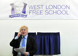 © licensed to London News Pictures. LONDON, UK.  09/09/11. Boris Johnson. London Mayor Boris Johnson joins Chair of Governors Toby Young to officially open the The West London Free School (WLFS). The WLFS is an 11-18 secondary school, which has been set up by a group of parents and teachers in Hammersmith. The school is led by headmaster Thomas Packer . Mandatory Credit Stephen Simpson/LNP