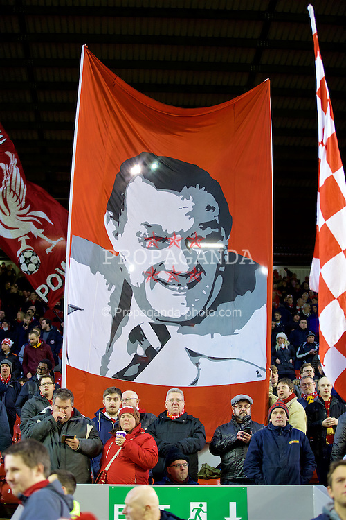 LIVERPOOL, ENGLAND - Thursday, March 10, 2016: A Liverpool supporters' banner of former manager Bob Paisley on the Spion Kope before the UEFA Europa League Round of 16 1st Leg match against Manchester United at Anfield. (Pic by David Rawcliffe/Propaganda)