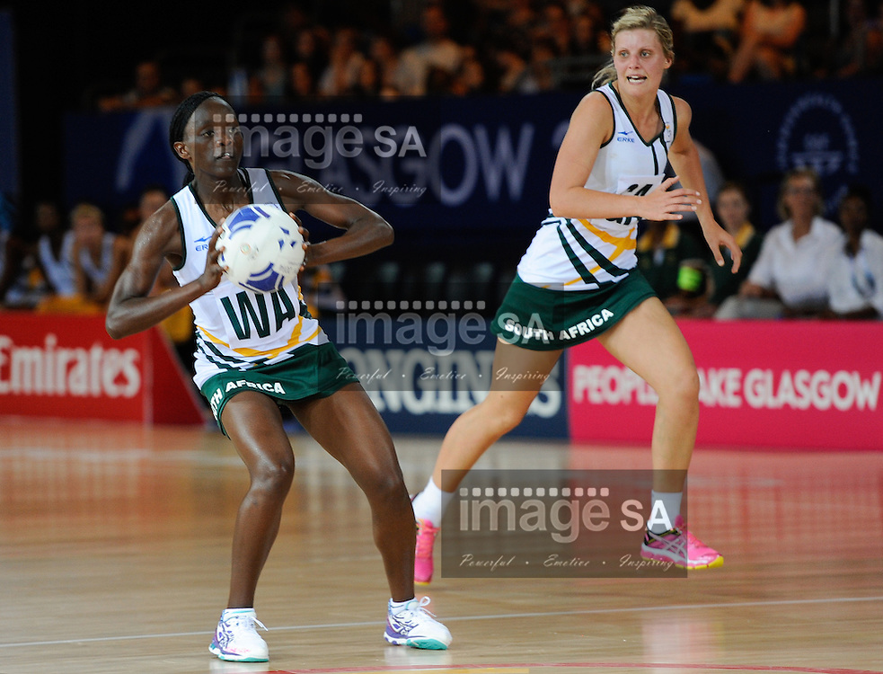 GLASGOW, SCOTLAND - JULY 25: Bongiwe Msomi of South Africa during the netball match between South Africa and Trinidad and Tobago on day 2 of the 20th Commonwealth Games at Scottish Exhibition Centre on July 25, 2014 in Glasgow, Scotland. (Photo by Roger Sedres/ImageSA)