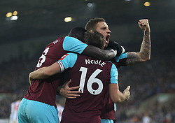 Mark Noble of West Ham United celebrates after scoring his sides first goal - Mandatory by-line: Jack Phillips/JMP - 13/01/2018 - FOOTBALL - The John Smith's Stadium - Huddersfield, England - Huddersfield Town v West Ham United - English Premier League