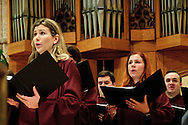 "Choir members perform at Chicago's Holy Name Cathedral during the 78th Annual Votive Mass of the Holy Spirit, or ""Red Mass"", a celebration sponsored by the Catholic Lawyers Guild. September 30, 2012 l Brian J. Morowczynski~ViaPhotos..For use in a single edition of Catholic New World Publications, Archdiocese of Chicago. Further use and/or distribution may be negotiated separately. Contact ViaPhotos at 708-602-0449 or email brian@viaphotos.com."