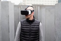Man wearing VR virtual reality headset