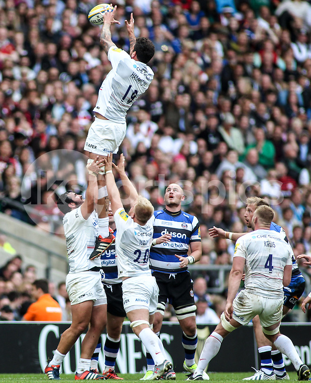 Jim Hamilton of Saracens wins a line out during the 2015 Aviva Premiership Rugby Final match between Bath Rugby and Saracens at Twickenham Stadium, on 30 May 2015. Photo by Ken Sparks.