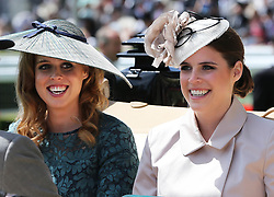 Image licensed to i-Images Picture Agency. 17/06/2014.    Princess's Beatrice and Eugenie arriving  on  the opening day of Royal Ascot, United Kingdom. Picture by Stephen Lock / i-Images