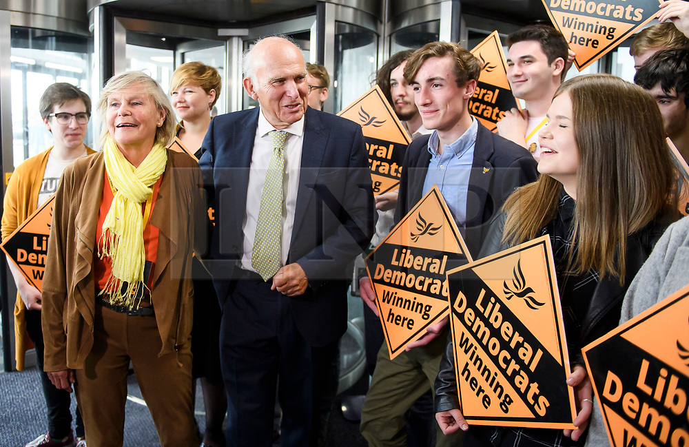 © Licensed to London News Pictures. 18/09/2018. Brighton, UK.  Liberal Democrat leader VINCE CABLE and his wife RACHEL SMITH arrive for leaders speech on the final day of the Liberal Democrat Autumn Conference in Brighton, East Sussex on September 18, 2018. This years event has been mainly focused around Brexit, the UK's departure from the EU. Photo credit: Ben Cawthra/LNP