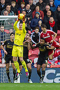 Nottingham Forest goalkeeper Dorus de Vries (1) claims the ball during the Sky Bet Championship match between Middlesbrough and Nottingham Forest at the Riverside Stadium, Middlesbrough, England on 23 January 2016. Photo by George Ledger.