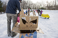 Cardboard Sled Derby and Snow Building with Laconia Parks and Recreation.  Karen Bobotas for the Laconia Daily Sun