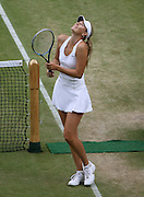 30/06/2011 - Wimbledon (Day 10) - Ladies' Singles Semi-Finals - Maria Sharapova vs. Sabine Lisicki - Maria Sharapova celebrates victory - Photo: Simon Stacpoole / Offside.