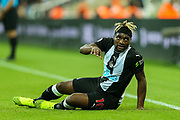 Allan Saint-Maximin (#10) of Newcastle United looks up after he is fouled during the Premier League match between Newcastle United and Brighton and Hove Albion at St. James's Park, Newcastle, England on 21 September 2019.