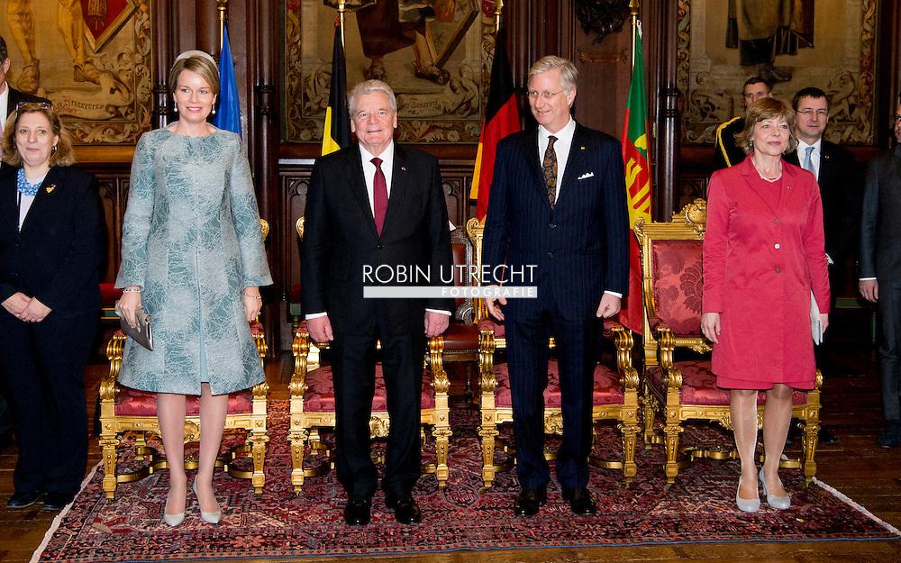 8-3- 2016 BRUSSELS - Joachim Gauck and his wife Daniela Schadt to Belgium king Filip and queen mathilde at the CITY HALL BRUSSELS , STATE VISIT OF THE PRESIDENT OF THE FEDERAL REPUBLIC OF GERMANY Joachim Gauck and his wife Daniela Schadt to Belgium king Filip and queen mathilde . copyright robin utrecht<br /> staatsbezoek duitsland aan belgie <br /> BRUSSEL - Joachim Gauck en zijn vrouw Daniela Schadt naar Belgi&euml; koning Filip en Mathilde koningin tijdens de welkomstceremonie op het Paleizenplein STAAT BEZOEK VAN DE PRESIDENT VAN DE BONDSREPUBLIEK DUITSLAND Joachim Gauck en zijn vrouw Daniela Schadt naar Belgi&euml; Filip koning en koningin Mathilde. auteursrechten robin utrecht