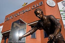 Statue of Jimmy Johnstonel outside Celtic Park home of Celtic Football Club in Parkhead , Glasgow, Scotland, United Kingdom
