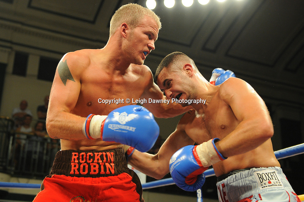 Ediz Hussein defeats Robin Deakin at York Hall, Bethnal Green, London on Friday 30th September 2011. Box Nation.tv's debut live TV Channel 456 on Sky. Photo credit: © Leigh Dawney. Queensberry Promotions.