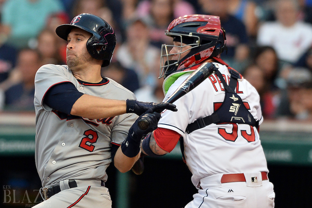 Aug 2, 2016; Cleveland, OH, USA; Minnesota Twins second baseman Brian Dozier (2) hits an RBI ground out during the fourth inning against the Cleveland Indians at Progressive Field. Mandatory Credit: Ken Blaze-USA TODAY Sports