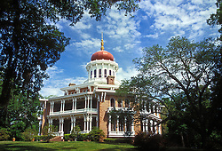 Natchez, Mississippi:  A National Historic Landmark, octagon-shaped Longwood is considered the most elaborate plantation home ever built in Mississippi.  Construction began in 1860 and then stopped in 1861 because of the Civil War, leaving only the exterior and the first floor of the home finished. Once the headquarters for more than a million dollars worth of cotton fields, it now is owned by the Pilgrimmage Garden Club of Natchez and is open daily for tours.  Architect was Samuel Sloan of Philadelphia; owner was Dr. Haller Nutt.