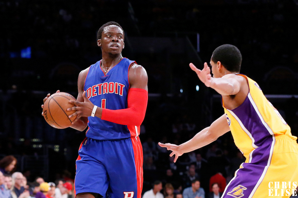 10 March 2015: Detroit Pistons guard Reggie Jackson (1) looks to pass the ball over Los Angeles Lakers guard Jordan Clarkson (6) during the Los Angeles Lakers 93-85 victory over the Detroit Pistons, at the Staples Center, Los Angeles, California, USA.