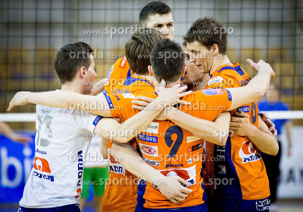 Players of ACH celebrate during volleyball game between OK ACH Volley and OK Panvita Pomgrad in 1st final match of Slovenian National Championship 2013/14, on April 6, 2014 in Arena Tivoli, Ljubljana, Slovenia. Photo by Vid Ponikvar / Sportida