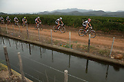 Ben Bostrom leads the front bunch during stage 1 of the 2014 Absa Cape Epic Mountain Bike stage race held from Arabella Wines in Robertson, South Africa on the 24 March 2014<br /> <br /> Photo by Greg Beadle/Cape Epic/SPORTZPICS