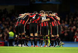 Bournemouth players huddle before kick off - Mandatory byline: Robbie Stephenson/JMP - 05/12/2015 - Football - Stamford Bridge - London, England - Chelsea v AFC Bournemouth - Barclays Premier League