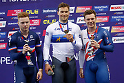 Podium, Men Keirin, Stefan Botticher (Germany) gold medal, Sebastien Viger (France) silver medal, Jack Carlin (Great Britain) bronze medal during the Track Cycling European Championships Glasgow 2018, at Sir Chris Hoy Velodrome, in Glasgow, Great Britain, Day 6, on August 7, 2018 - Photo luca Bettini / BettiniPhoto / ProSportsImages / DPPI<br /> - Restriction / Netherlands out, Belgium out, Spain out, Italy out -