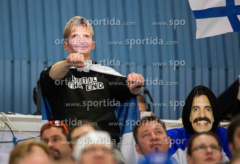 Finnish fans as Matti Nykaenen during Ice Hockey match between Norway and Finland at Day 4 in Group B of 2015 IIHF World Championship, on May 4, 2015 in CEZ Arena, Ostrava, Czech Republic. Photo by Vid Ponikvar / Sportida