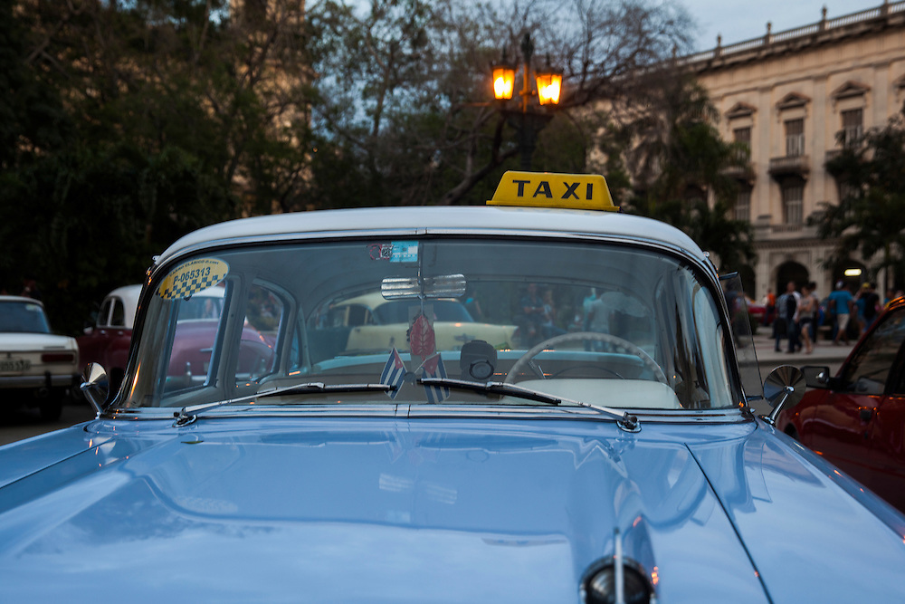 Taxi parked at Parque Central in Havana, Cuba.