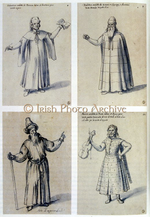 Costume design for classical figures. Top L: Aristarchos. Top R: Aristotle.  Guiseppe Arcimboldo (c1530-1593) Italian painter. Pen, blue ink and watercolour on paper.