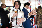 THE BRIDE AND GROOM IN HANDCUFFS BY STEPHEN WEBSTER. , Marriage of Tim Noble and Sue Webster conducted by Tracey Emin. Queen Elizabeth. Thames. London. 7 June 2008 *** Local Caption *** -DO NOT ARCHIVE-© Copyright Photograph by Dafydd Jones. 248 Clapham Rd. London SW9 0PZ. Tel 0207 820 0771. www.dafjones.com.