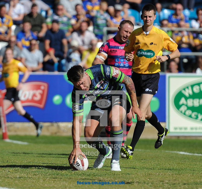 Tom Briscoe of Leeds Rhinos touches down to score during the Super 8s Qualifiers match at The Big Fellas Stadium, Post Office Road, Pontefract.<br /> Picture by Richard Land/Focus Images Ltd +44 7713 507003<br /> 06/08/2016