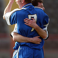 St Mirren v St Johnstone.. 22.03.03<br />Peter MacDonald celebrates St Johnstones second goal after deflecting in Paul Hartleys free kick<br />Pic by Graeme Hart<br />Copyright Perthshire Picture Agency<br />Tel: 01738 623350 / 07990 594431