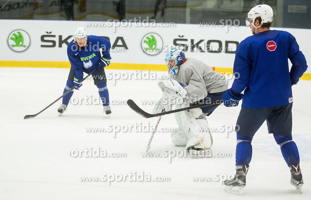 Robert Kristan, Anze Kopitar during practice session of Slovenian National Ice Hockey Team 1 day prior to the 2015 IIHF World Championship in Czech Republic, on April 30, 2015 in Practice arena Ostrava, Czech Republic. Photo by Vid Ponikvar / Sportida