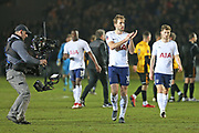 Tottenham Hotspur Harry Kane (10) applauds the crowd after their 1-1 draw today during the The FA Cup 4th round match between Newport County and Tottenham Hotspur at Rodney Parade, Newport, Wales on 27 January 2018. Photo by Gary Learmonth.