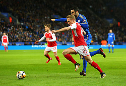 Kyle Dempsey of Fleetwood Town goes past Vicente Iborra of Leicester City - Mandatory by-line: Robbie Stephenson/JMP - 16/01/2018 - FOOTBALL - King Power Stadium - Leicester, England - Leicester City v Fleetwood Town - Emirates FA Cup third round proper
