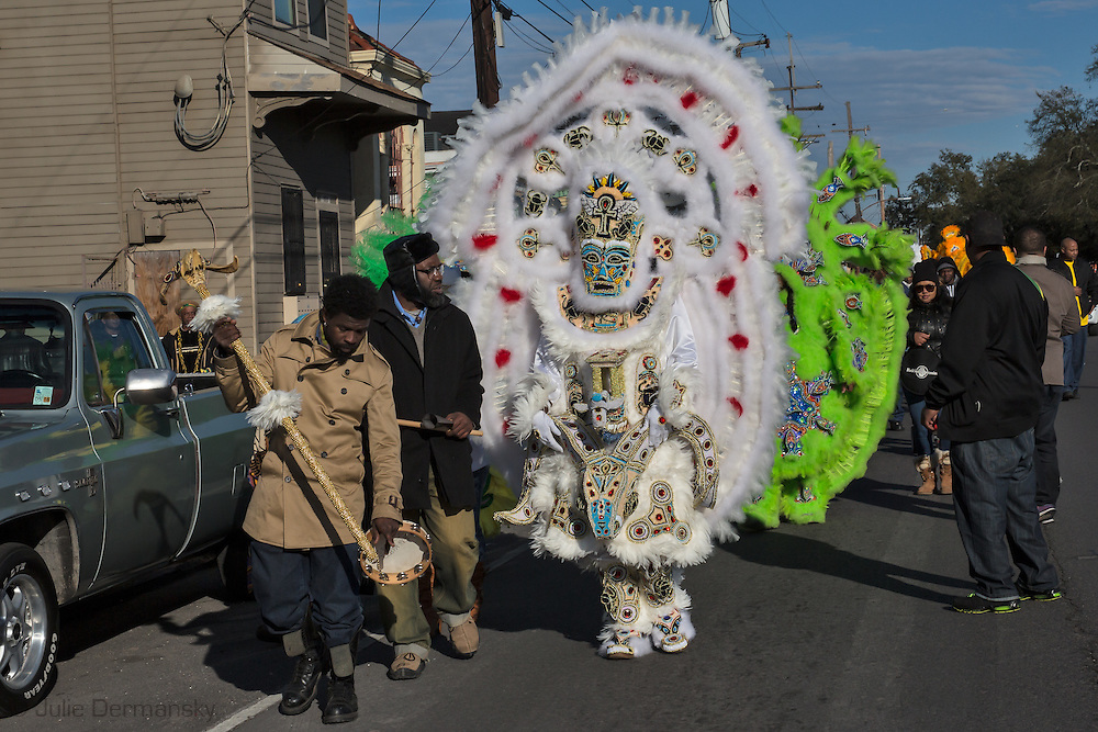 2/17/ 15, New Orleans, LA, Chief Chaka Gulu, a Mardi Gras Indian leading his tribe on a Mardi Gras Parade on Mardi Gras Day.