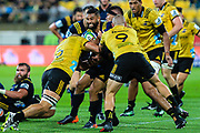 Lima Sopoaga tackled during the super rugby union  game between Hurricanes  and Highlanders, played at Westpac Stadium, Wellington, New Zealand on 24 March 2018.  Hurricanes won 29-12.