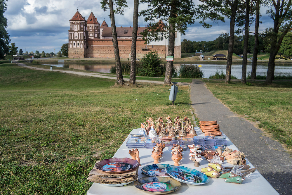 Souvenirs for sale outside Mir Castle on Friday, September 16, 2016 in Mir, Belarus.