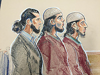 Haseeb Hamayoon, Yousaf Shah Syed and Nadir Ali Sayed (left to right) at Woolwich Crown Court for the opening day of their trial.<br /> <br /> The prosecution alleges the men were inspired by Islamic State militants. They all deny preparing terrorist acts.