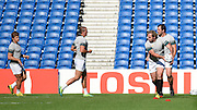 South African players take part in a drill during the South Africa Captain's Run training session in preparation for the Rugby World Cup at the American Express Community Stadium, Brighton and Hove, England on 18 September 2015. Photo by David Charbit.